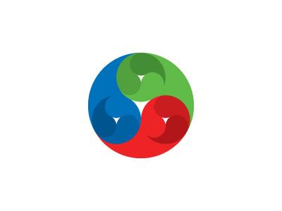 Gankyil Logo fractal recursive modern rgb triskelion triskele yin-yang circle mathematical symmetrical design geometric vector logomark mark logo