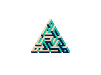 Trialism Logo labyrinth maze triangle symmetrical design 3d geometric vector logomark mark logo
