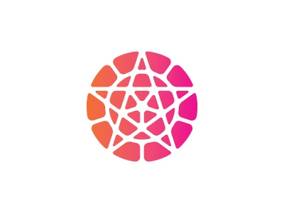 Atactic Logo geometric symmetrical orange magenta star circle mosaic 2d vector logomark mark logo