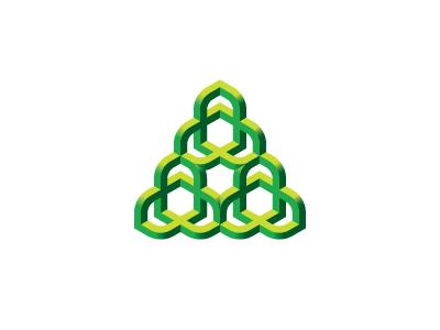 Tercet Logo triangle nature organic knot torus environment ecology green symmetrical design 3d geometric vector logomark mark logo