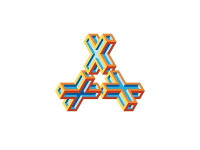 Equis Logo cross impossible object isometric stylized a letter x triangle symmetrical design 3d geometric vector logomark mark logo