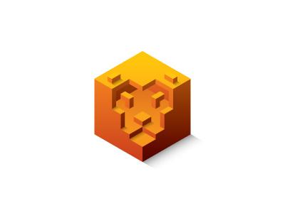 Lion Cube Logo orange mane strength protection security lion shield cube hexagon design 3d geometric vector logomark mark logo