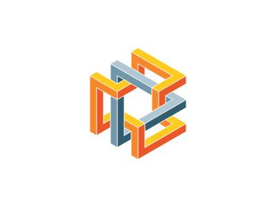Trihexa Logo triangle hexagon symmetrical design 3d geometric vector logomark mark logo
