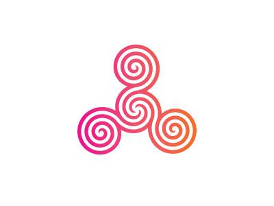 Spiral Triskelion Logo orange magenta gradient modern spiral triskelion triskele symmetrical geometric vector logomark mark logo