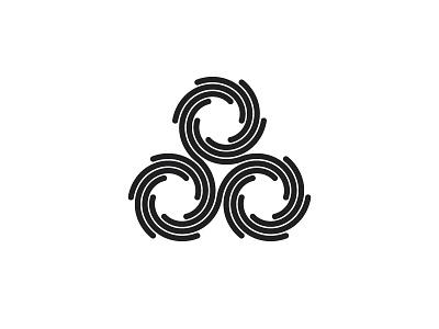 Helicos Logo linked black triskelion triskele spiral design geometric vector logomark mark logo