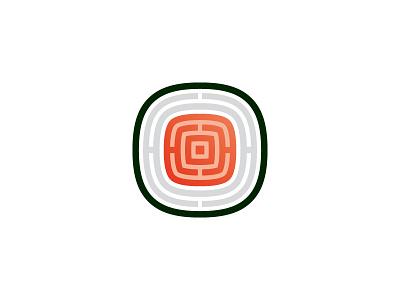 Sushi Logo labyrinth maze modern salmon fish seaweed rice seafood asian cuisine japanese food sushi symmetrical geometric vector logomark mark logo