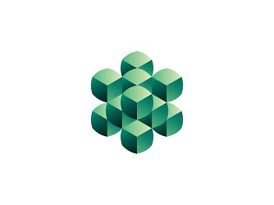 Convexa Logo quincuncial quincuncially modern gemstone gem emerald green convex pillowed cubes rounded symmetrical 3d design geometric vector logomark mark logo