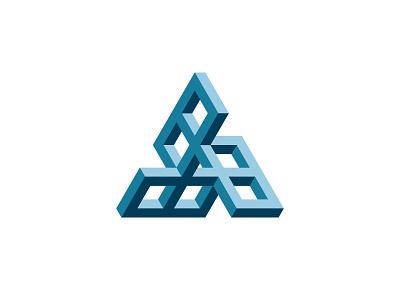 Finestra Logo optical illusion impossible object triangle symmetrical 3d design geometric vector logomark mark logo