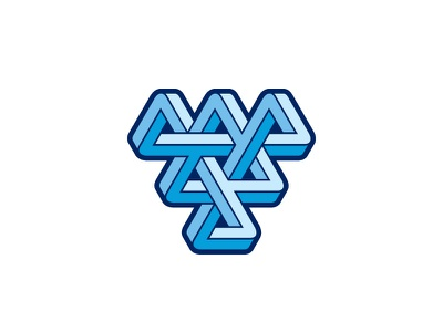 Connecta Logo impossible object optical illusion knot intersect blue triangle symmetrical 3d design geometric vector logomark mark logo