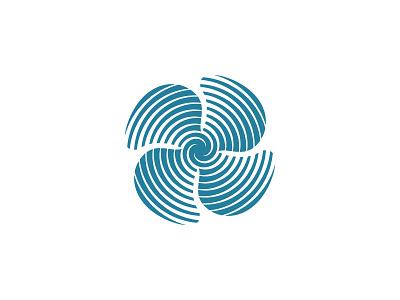 Thrust Logo flow vortex rotation motion rotor turbine fan propeller spiral symmetrical design geometric vector logomark mark logo