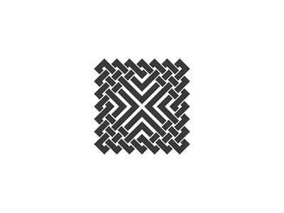 Quadranodum Logo intricate black line intersect intertwined knot square symmetrical design geometric vector logomark mark logo