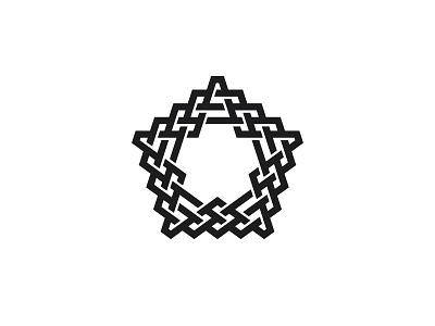Textilistella Logo black line weave star pentagon symmetrical design geometric vector logomark mark logo