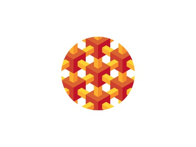 Array Logo optical illusion impossible object infinity array isometric circle cube 3d symmetrical design geometric vector logomark mark logo