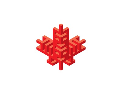 Canadiana Logo stylized isometric totem owl red maple leaf leaf maple 3d symmetrical design geometric vector logomark mark logo