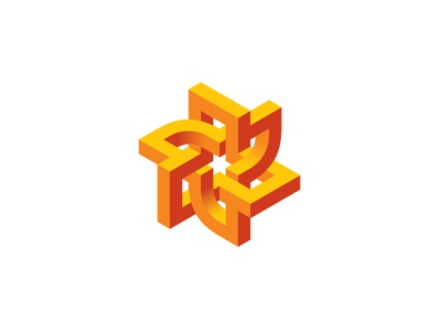 Turbonect Logo red orange yellow isometric 3d symmetrical design geometric vector logomark mark logo