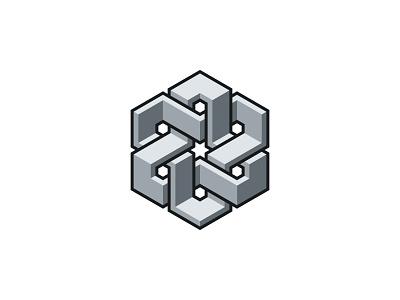 Hexaribbon Logo grey gray flat ribbon hexagon 3d symmetrical design geometric vector logomark mark logo