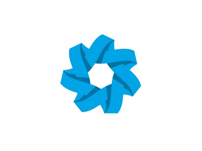 Heptagami Logo wave blue paper ribbon folded origami star symmetrical design geometric vector logomark mark logo