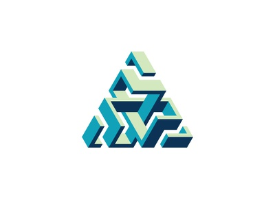 Hyperlocal Logo optical illusion impossible object torus knot isometric triangle 3d symmetrical design geometric vector logomark mark logo