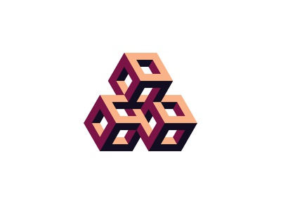 Axiomatic Logo optical illusion impossible object isometric triangle cube 3d symmetrical design geometric vector logomark mark logo