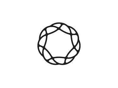 Cnidaria Logo nest rope mobius coral sun flower line black organic star heptagon symmetrical geometric vector logomark mark logo