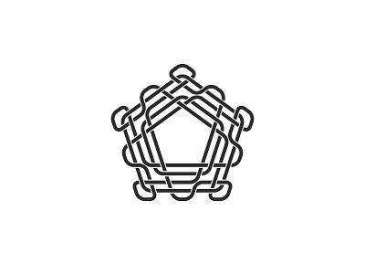 Pentaknot Logo abstract intricate line black knot symmetrical design geometric vector logomark mark logo