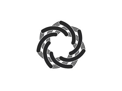 Spira Logo heptagon star arc knot spiral symmetrical design geometric vector logomark mark logo