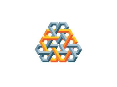Epoch Logo hexagon triangle 3d symmetrical design geometric vector logomark mark logo
