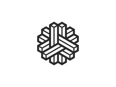 Interlok Logo optical illusion impossible object intricate isometric line abstract black square prism hexagon 3d symmetrical design geometric vector logomark mark logo