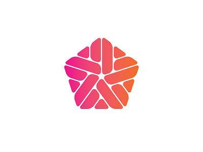 Ethereality Logo gradient penagon symmetrical design geometric vector logomark mark logo