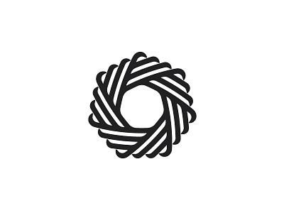 Ruban Logo negative space dynamic origami folded shutter line black heptagon knot abstract ribbon symmetrical geometric vector logomark mark logo