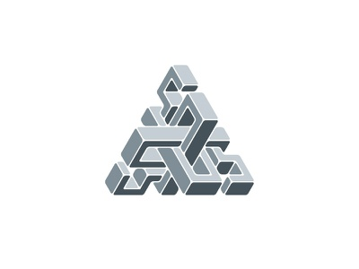 Benthos Logo grey gray rounded isometric impossible object optical illusion triangle 3d symmetrical design geometric vector logomark mark logo