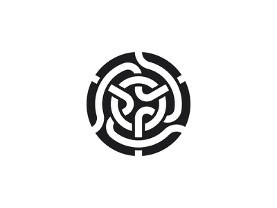 Norbis Logo intricate knot negative space black circle symmetrical design geometric vector logomark mark logo