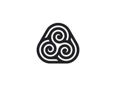Ragaire Logo line black triskelion triskele spiral triangle symmetrical design geometric vector logomark mark logo