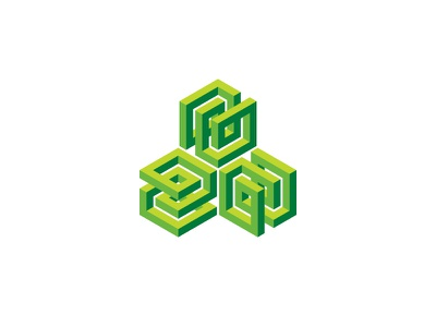 Trieteric Logo knot green pyramid cube impossible object optical illusion 3d symmetrical design geometric vector logomark mark logo
