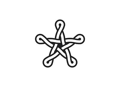 Sidus Logo white black twisted knot intricate star symmetrical design geometric vector logomark mark logo