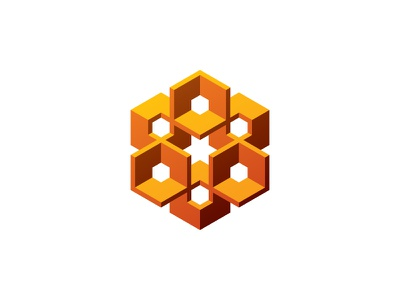 Hivexa Logo golden intricate community hexagonal hive hexagon 3d symmetrical design geometric vector logomark mark logo