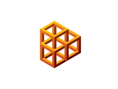 Playmetric Logo optical illusion impossible object play button triangle hexagon cube 3d symmetrical design geometric vector logomark mark logo