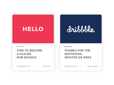 Time to become a player! hello dribbble invitation web design web webdesign cards ux ui first shot debut