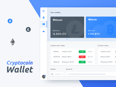 Cryptocoin Wallet - Dashboard download sketch ui crypto task statistics sidebar redesign desktop dashboard cards admin