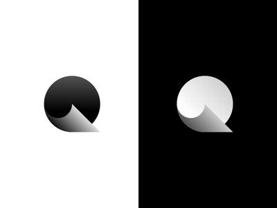 Q logo web shadow gradient minimal branding letter design logotype brand mark logo icon