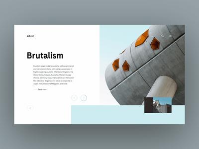 Brutalism - UI slideshow concrete sky slider interaction mark logo animation brutalist brutalism brutal webdesign website web ux typography minimal blue design ui