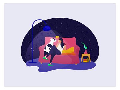 Lola love design night illustration girl dog
