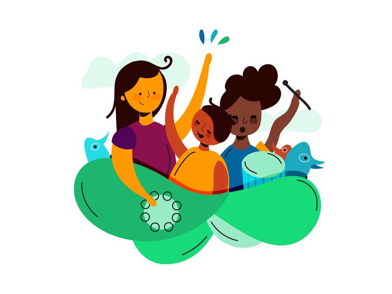 Kids having fun kids colombia cute flat illustration illustrator character design