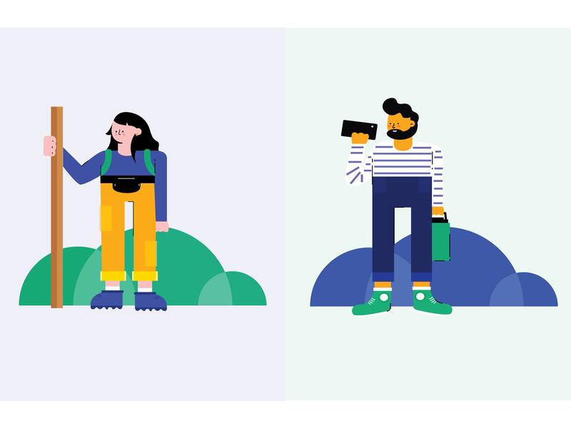 Hiking pals user personas ux illustration flat character design illustration