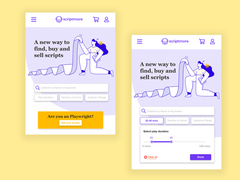 Script App - search method and banner illustration interaction design user experience purple hair woman responsive design mobile app uxdesign uidesign design illustration