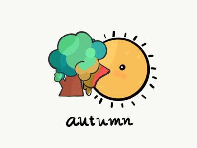 Autumn li(c)king tree illustrator ipad pro cute autumn sun illustration kawaii