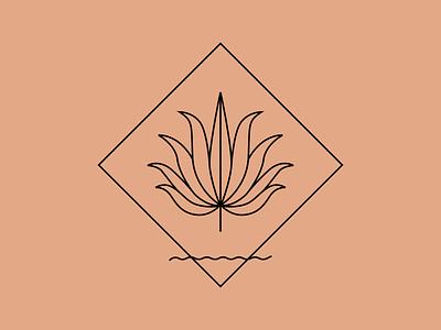 Agave Sand texas desert waves western southwestern plant vector concept illustration graphic linear logo agave