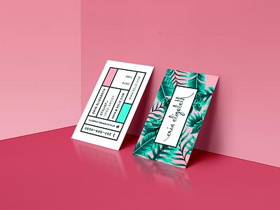 Hair Stylist Business Cards geometric custom card design logo branding cards design business cards design tropical palms business cards