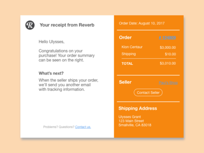 Email Receipt for Reverb Order