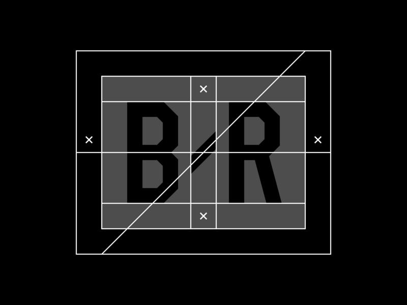 Bleacher Report Logo Construction diagonal slash construction logo construction grid bleacher report rebrand branding logo sports